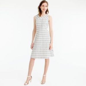 J. Crew windowpane fitted dress navy and white